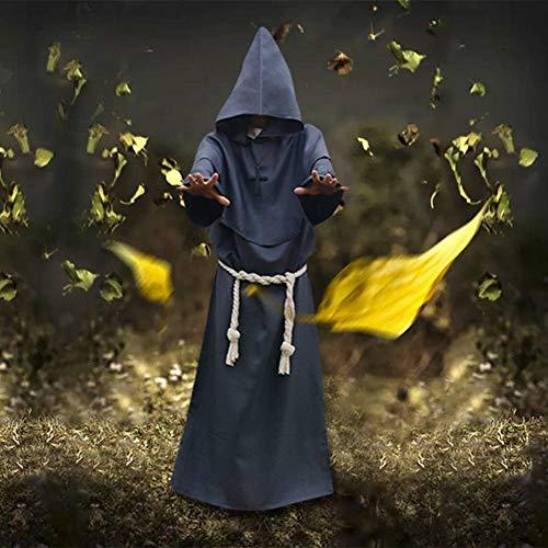 Kostüm Hase Und Zauberer - GUAN Halloween Cosplay Kostüm Mittelalter Mönch Gewand Mönch Kleidung Zauberer Anzug Priester Kostüm