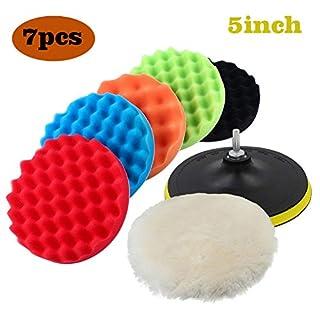 Car Polishing Pads Buffing sponge 7pcs 4inch Sponge and Wool Polishing Waxing Buffing Pads Kit Set for Car Sanding,Waxing,Polishing,Sealing Glaze (5INCH)