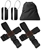 BLACK BISON Koffergurt Kreuz (2er Set) zum sicheren Verschließen der Koffers auf Reisen + GRATIS 2 Gepäckanhänger - 2-Wege-Gepäckgurt / Kofferband verstellbar & rutschfest - Schwarz