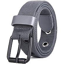 Cinturón De Lona Ajustable Para Hombre Y Mujer con hebilla de metal negro  MIJIU Cinturón Ocasional ecae2546c4ee