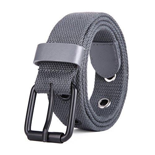 Cinturón De Lona Ajustable Para Hombre Y Mujer con hebilla de metal negro MIJIU Cinturón Ocasional