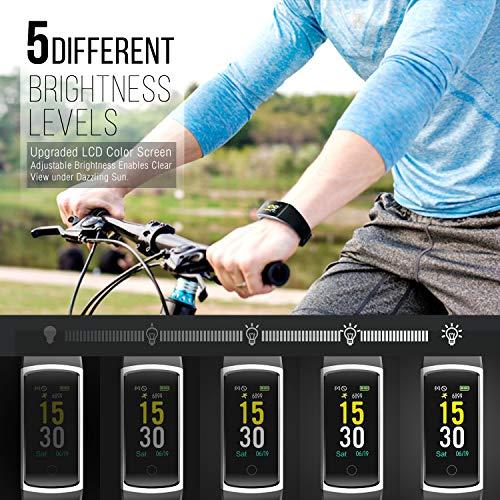Imagen de fitfort pulsera de actividad reloj inteligente para hombre y mujer, ip68 impermeable reloj deportivo con rtmo cardíaco, presión sanguínea, sueño monitor, contador y calorías para android y ios alternativa