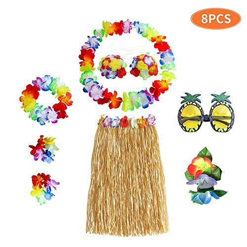 FOONEE 8 Stück Erwachsene Party Hawaii Kleid Hula Gras Rock Mit Halskette Armband Stirnband Bikini Top Haarspange Sonnenbrille