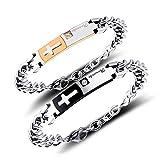 ZHHAOXINJE Classique Bracelet Acier Titane, Bracelet Couple Gravure Personnalisée...