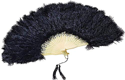 Bristol Novelty Erwachsene Kostüm Party Kostüm Zubehör Burlesque Showgirl 20er Handheld Feder Fächer - Schwarz, One Size, Einheitsgröße