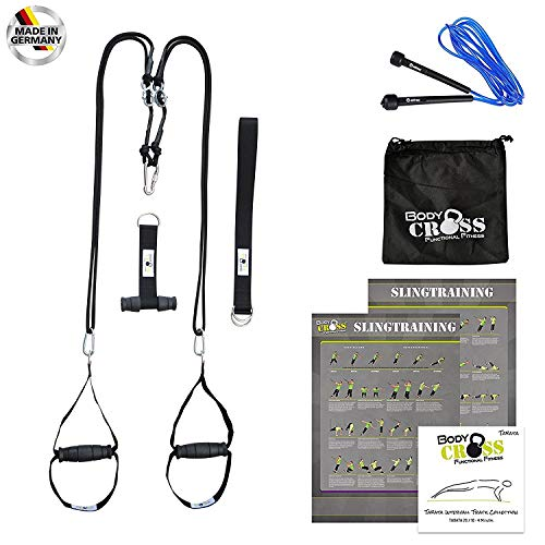 Schlingen-Trainer von BodyCROSS | inkl. Übungsposter, 10-Wochen Trainingsplan, Tasche, Türanker, Adaption, Springseil und TABATA Trainings Musik CD | Sling-Trainer für Functional Training | Professioneller Rope-Trainer Made in Germany
