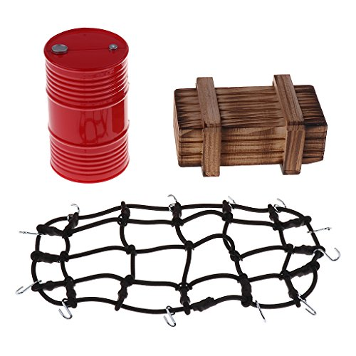 Homyl Öltank Gepäcknetz und Holzkisten Zubehöre Set für 1:10 Rc Crawler