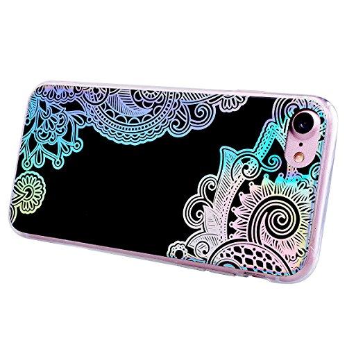 GrandEver iPhone 7 / iPhone 8 Glitzer Hülle Silikon Handyhülle Gel TPU Bumper Bunt Mandala Schutzhülle Schwarz Handytasche Anti-Kratzer Rückschale Ultra Dünnen Soft Case Cover - C C