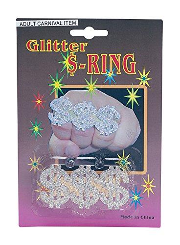 Bristol Novelty BA632 Dollar Glanz Ring, mens, Mehrfarbig, Einheitsgröße (1970's Pimp Kostüm)