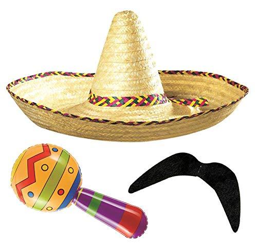 Labreeze Riesiger Sombrero-Hut aufblasbarer Maraca mit Schnurrbart mexikanisches Kostüm-Set