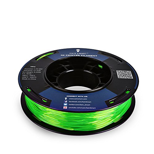 SainSmart 5 Packs Kleine Spule 1.75mm TPU Flexible 3D Filament 250g per Spool, Shore 95A, Weiß, Schwarz, Rot, Blau, Grün - 6