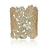 Lureme Vintage Métal Dentelle Pattern Etched Feuille Hollow Bracelet Bracelet pour femme-or (bl003124-1)