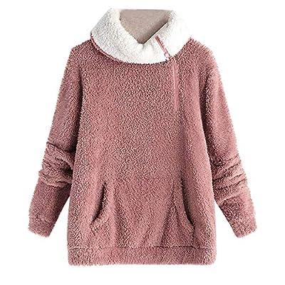 Sufeng Women's Long Sleeve Fleece Sweatshirt Warm Zip Solid Fuzzy Hoodie Pullover