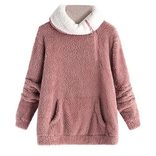 Pullover Damen,Lange Ärmel Sweatshirts Stehkragen Pullover mit Reißverschluss Resplend Winter Warm Sweater Langarmbluse mit Taschen