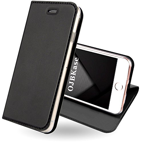 OJBKase iPhone 5/5S/SE Hülle, Premium Slim PU Leder Handy Schutzhülle [Standfunktion] Hülle/Brieftasche/Ledertasche Tasche Lederhülle Handyhülle für Apple iPhone 5/iPhone 5S/iPhone SE (Schwarzgrau)