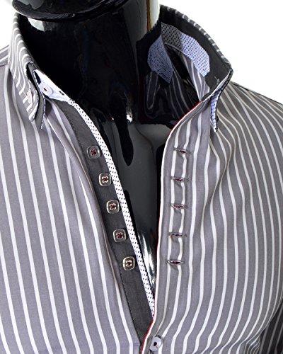 D&R Fashion Männer Elegantes Hemd mit Streifenmuster und bequemer Schnitt Slim Fit Baumwolle Hellgrau