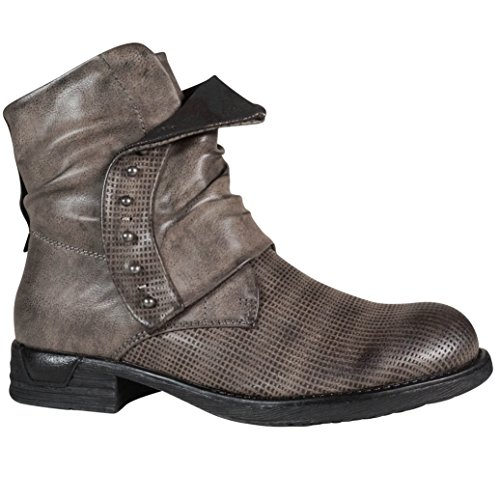 Schuhtraum Damen Worker Stiefeletten Stiefel Boots Biker Outdoor (36, Grau ST153)