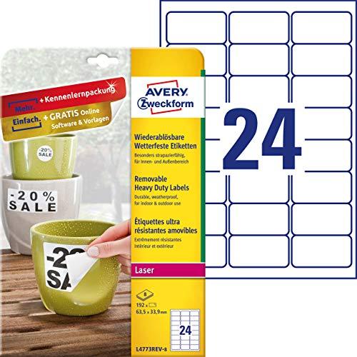 Avery Zweckform l4773rev di 8Outdoor Pellicola di etichette (A4, 192Etichette, resistente agli agenti atmosferici, residui, 63,5X 33,9mm) 8fogli, bianco