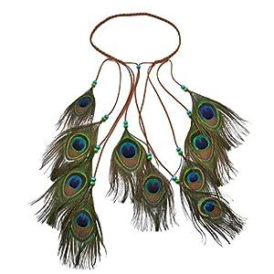 Bohemian Vintage Ethnic Style Stirnband, handgemachte Pfauenfeder Haar-Accessoire, mehrschichtige Feder 41 x 46 cm Kopfbedeckung, Geschenk für sich selbst Freund Familienliebhaber