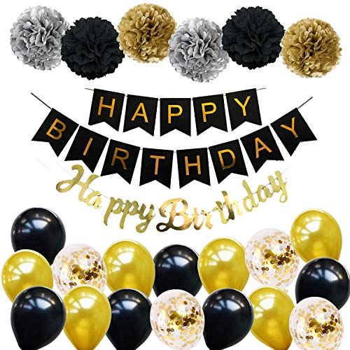 Ohighing Happy Birthday Schwarz Geburtstag Party Deko Set 1 Girlande 6 Pompoms 16 Luftballons Schwarz Gold Ballons Gold Konfetti Luftballon(ca.30cm) 1 Happy Birthday Banner in Gold metallic (30. Geburtstag Party Banner)