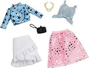 Mattel Fashionistas-Pack de 2 Modas, Ropa Barbie Estampado de Estrellas, Accesorios muñecas FXJ66