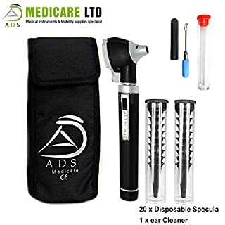 Black Fibre Optic Mini Otoscope with Complimentary Ear Cleaner