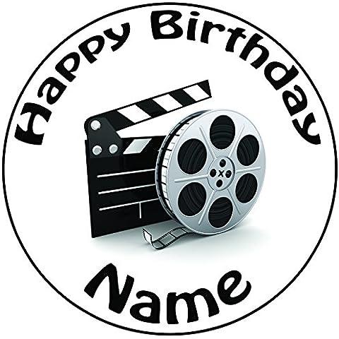 Personalizzato film film e Clapper Board–Topper per torta a pre-cut rotondo 8