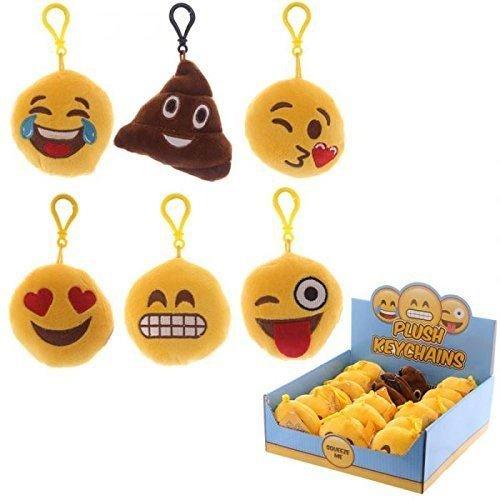 Ciondolo Portachiavi Sonoro In Peluche Faccine Emoji Emoticon - Love - Kiss - Smile - Cacca