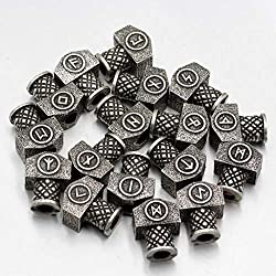 YDJGY 23 Piezas Vikingos Lunes Vikingo Runa Barba Perlas Grandes Accesorios Bricolaje Perlas