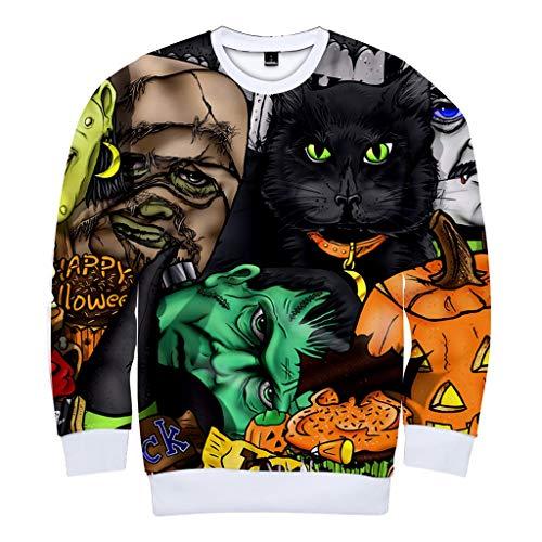 Sweatshirt/Pullover, für Pärchen 3D Print Sweater mit Rundhalskragen aus hochwertiger Slim Fit Long SleevePaare Halloween Matching für Paare Couple-Hoody Geschenk (Paare Kostüm Einzigartig)