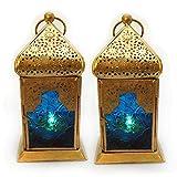 Deko Laterne Metall Glas Blau/Gold Teelicht Orientalisch Zum Stellen und Hängen set/2 Gall&Zick