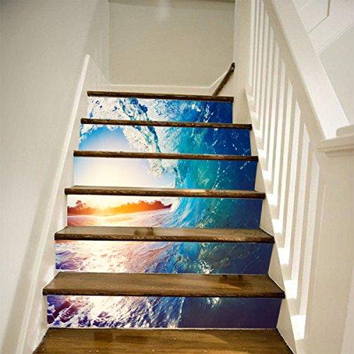 QTZS 3D Surf Stairs Kreative Startseite DIY Renovierung Dekorative Wandaufkleber,6pcs