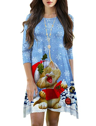 Cfanny Femmes 3/4 Manches Santa Noël Évasé Imprimé Robe Évasée Flocon De Neige Chat Chanceux