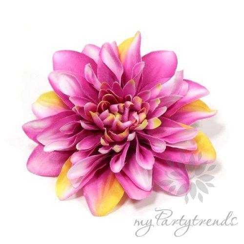 Elegante Ansteck-/Haarblume in pink-weiß-gelb. Ansteckblume Dahlie (Ø 12 cm; Höhe 2,5 cm) von myPartytrends. Weitere Farbvarianten...