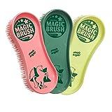 Magic Brush Pflegeset 3 tlg. Bürstenset für Pferde und gr. Hunde, für Fell Huf Bein Pferdebürste Putzzeug
