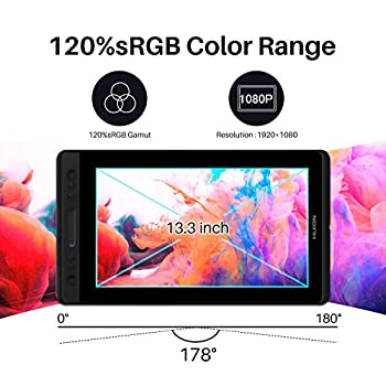 Graphic Drawing Monitor - HUION Kamvas Pro 13 Graphic Tablet with 13.3 Inch Anti-glare Full Laminated IPS Screen, Battery-free Pen with Tilt Function, 120% sRGB Gamut, 178°Viewing Angle, Without Stand