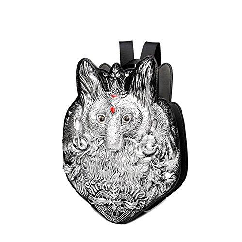 Fashion fox doppia spalla zaino/personalità cento zaino a forma di cuore-argento argento