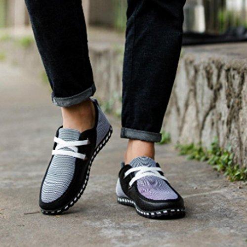 Pelle Uomo Della Maglia Mocassini In Casuale Scarpe Moda Città Bassa Nere Basse Scarpe Di Comodo Qinmm Classica Sneakers Della TfXxAq4xw5
