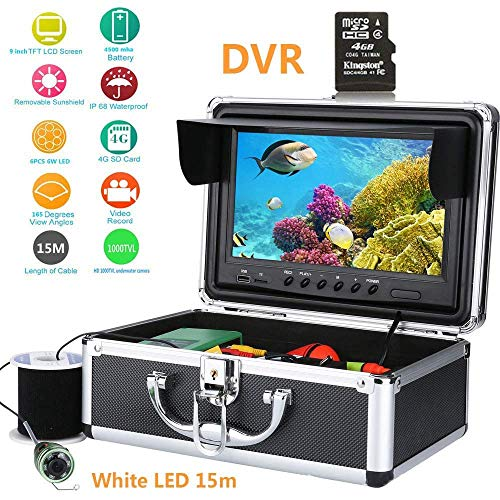 Mengen88 Unterwasser-Fischervideo Kamera, 9 ' Zoll Farbe Digital LCD 1000TVL Fish Finder HD DVR Recorder Wasserdicht Fishing Video 960 x 480 Auflösung -