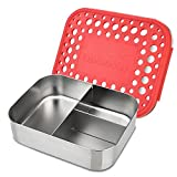 LunchBots Trio 2 Edelstahl Nahrungsmittelbehälter – Drei Abschnitt Design, perfekt für gesunde Snacks, beilagen oder Finger Foods – Umweltfreundlich, Spülmaschinenfest und BPA frei – Rot Gepunktet