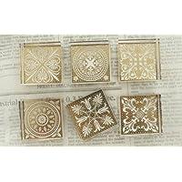 Motif persan élégant Timbres Cristal carrés 6 packs, tampons en caoutchouc