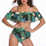 Calvinbi Costume da Bagno Diviso da Donna Vestito da Spiaggia con Fiori Arruffati Bikini a Vita Alta