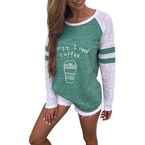 OVERDOSE Damen Lässige Blumen Splice-Streifen Druck Rundhalsausschnitt Pullover Bluse Tops T-Shirt (S, A-Z-A-Green)
