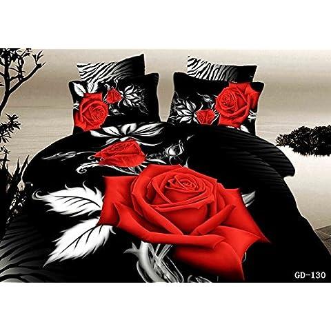 (3-7PC/ set) 100% algodón orgánico 3d romántico negro y rosa roja hoja de cama Cama King size de California establece 6pcs Edredón cubrir conjunto