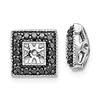 9mm 14ct White Gold Black Diamond Square Jacket Earrings Jewelry Gifts for Women