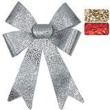 Myrmidon Germany Große XL Glitter-Geschenkschleife, 26cm breit und 40cm lang, geeignet für Geschenke, Hochzeiten, Partys und als Dekoration (Silber)