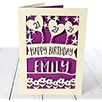 "Personalised 21st birthday card for her - ANY AGE - 18th, 21st, 30th, 40th, 50th card for daughter, granddaughter, niece, sister, friend. A5 size.""Balloons amongst the Stars"" Design."