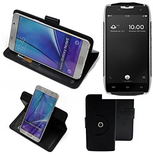 K-S-Trade® Hülle Schutzhülle Case Für -Doogee T5- Handyhülle Flipcase Smartphone Cover Handy Schutz Tasche Bookstyle Walletcase Schwarz (1x)