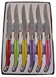 Laguiole I7209P6-NT - Estuche de cuchillos de mesa con mango en colores pastel, 6 unidades