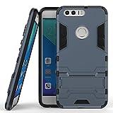 Coque pour Huawei Honor 8 (5,2 Pouces) 2 en 1 Double Couches Étui Antichocs Protection Rigide Anti Choc avec Fonction Support (Bleu Noir)